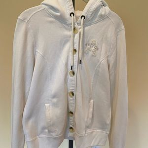 Abercrombie Women's Large White Button Sweatshirt